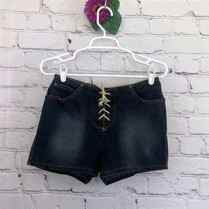 Shoelace Tie Jean Shorts